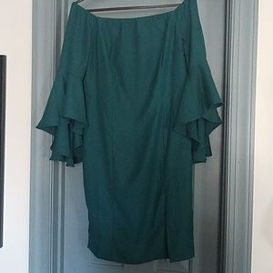 Green Off Shoulder Party Dress